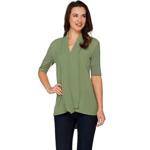 H by Halston Chiffon Knit Top Green Short Sleeve
